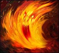 Посланник Бога Лайтира, он повелитель огненных сил в мире Фэо и проводник Огненных элементалий, в его власти огненным дождем уничтожить целый город.