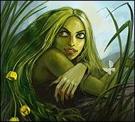 Жительница болот, проказница, она бодрствует ночью и любит прясть кружева, которыми опутывает тех, кто попадает к ней в сети.