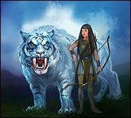 Храбрая воительница и укротительница ездовых тигров, она играючи управляется с этими огромными хищниками. Дает уроки наездникам-новичкам.