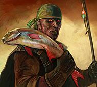 Мастер своего дела, умелый, бесстрашный рыбак, его гарпун всегда попадает в цель, его добычей становились даже огромные морские чудовища.
