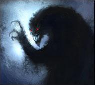 Воплощение магии тени, черная мрачная субстанция, облако тьмы с горящими красными глазами, наделенное высоким интеллектом, могущественное и грозное.