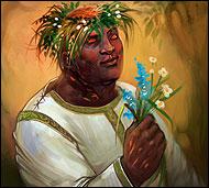 Опытный ботаник, собиратель гербариев и даже немного лекарь. Он настолько органичен с растительным миром, что, похоже, знает язык цветов и трав.