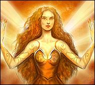 Дочь звезды Мирроу, прекрасное, очаровывающее своей красотой создание, сотканное из света. Ее золотые волосы - сияющие лучи, а сама она - главная носительница магии света.